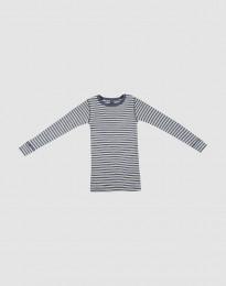 Långärmad tröja för barn i ekologisk ull-siden blåmelerat/natur