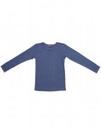 Långärmad barntröja i ull-siden jeansblå