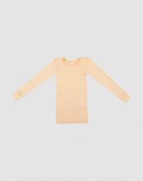 Långärmad tröja för barn i ekologisk ull-siden aprikos/natur
