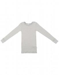Långärmad tröja för barn i ekologisk ull-siden grå/natur