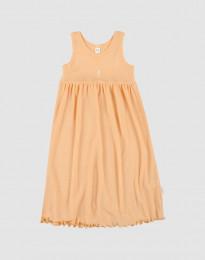 Ärmlös klänning i ekologisk ull-siden aprikos
