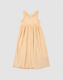 Ärmlös klänning i ekologisk ull-siden aprikos/natur