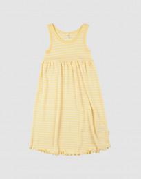 Ärmlös klänning i ekologisk ull-siden ljusgul/natur