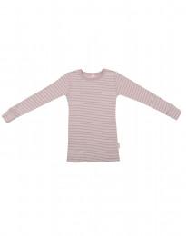 Långärmad tröja för barn i ekologisk ull-siden pastellrosa/natur
