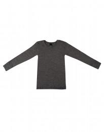 Barntröja - ekologisk merinoull Mörk gråmelange