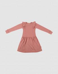 Ullklänning med volang för barn mörkrosa