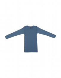 Barntröja i bred ullribb duvblå