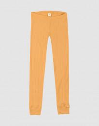 Barnleggings i ullribb gul