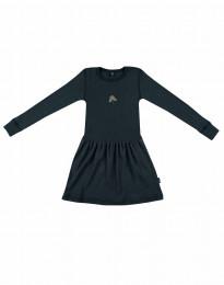 Ullklänning i ribbstickning Mörk petrolblå
