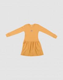 Ullklänning i ribbstickning gul
