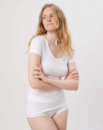 Dam-T-shirt i läcker tunn och mjuk bomull/elastan-kvalitet vit