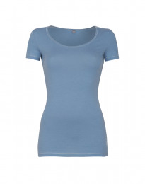 Dam-t-shirt i läcker tunn och mjuk bomull/elastan-kvalitet blå