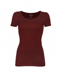 Dam-T-shirt i läcker tunn och mjuk bomull/elastan-kvalitet röd
