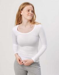 Dam-T-shirt med långa ärmar Ekologisk bomull/elastan vit