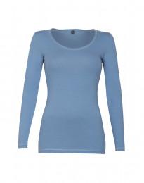 Dam-t-shirt med långa ärmar ekologisk bomull/elastan blå