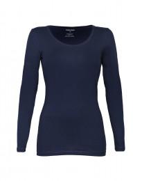 Dam-T-shirt med långa ärmar Ekologisk bomull/elastan navy
