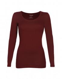 Dam-T-shirt med långa ärmar Ekologisk bomull/elastan röd