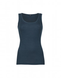 Ribbat linne i ull Mörkt petroliumblå