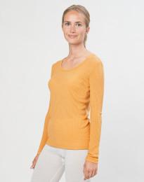 Tröja i merinoull för kvinnor ribbad gul
