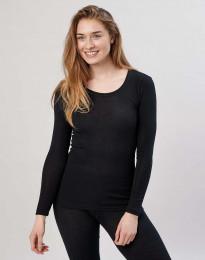 Långärmad damtröja i merinoull svart