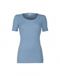 T-shirt dam i merinoull ljusblå