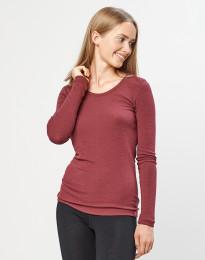 Långärmad tröja för damer – 100% ekologisk merinoull, rouge