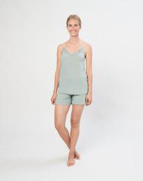Pyjamasshorts för kvinnor i ekologisk ull/siden pastellgrön