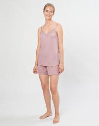 Pyjamasshorts för kvinnor i ekologisk ull/siden pastellrosa