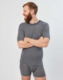T-shirt i merinoull för herr grårandig