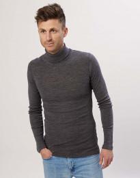 Polotröja i merinoull för män gråmelerad