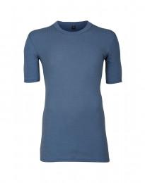 T-shirt i merinoull för herr i bred ribb duvblå