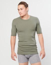 Kvartsärmad merinoullströja för män ribbad olivgrön