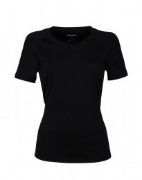 Dam-t-shirt i exklusiv merinoull svart