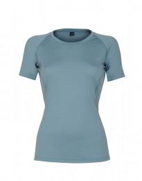 Dam t-shirt i exklusiv merinoull mineralblå