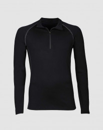 Herrtröja med blixtlås - exklusiv merinoull svart
