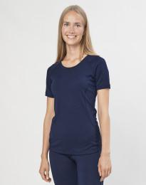 T-shirt för damer - ekologisk exklusiv merinoull marinblå