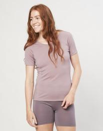 T-shirt för damer - ekologisk exklusiv merinoull gammalrosa