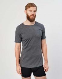 T-shirt herr - ekologisk exklusiv merinoull mörkt gråmelerad