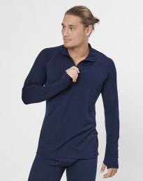 Långärmad tröja med 1/3 blixtlås - ekologisk, exklusiv merinoull marinblå