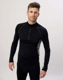 Långärmad tröja med 1/3 blixtlås - ekologisk, exklusiv merinoull svart