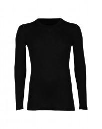Herrtröja med långa ärmar i merinoull/siden svart
