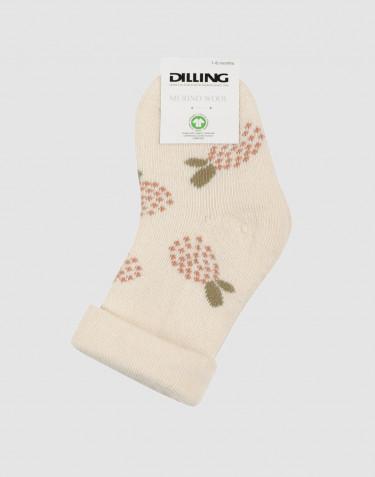 Blommönstrade strumpor för baby - ullfrotté natur