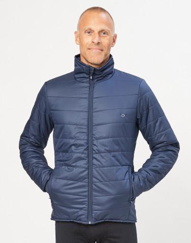 Ytterjacka med blixtlås för herr - återvunnen polyester/merinoull mörkblå