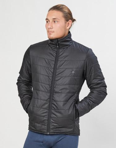 Ytterjacka med blixtlås för herr - återvunnen polyester/merinoull svart