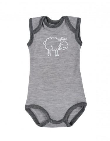 Ärmlös body för baby i merinoull gråmelange