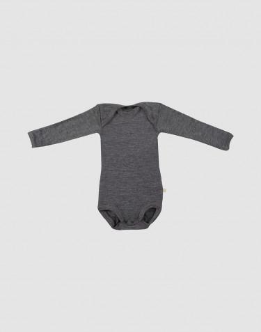 Body för baby med lång ärm - ekologisk merinoull mörk gråmelange