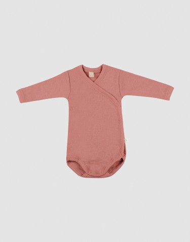 Omlottbody i merinoull för baby rosa