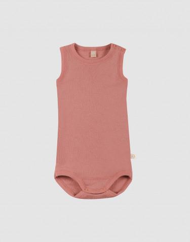Ullbody för baby utan ärmar rosa