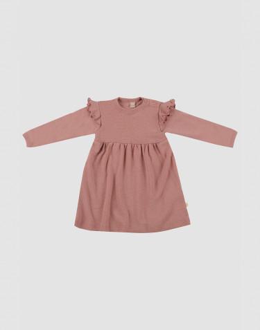 Ullklänning med volang för baby rosa