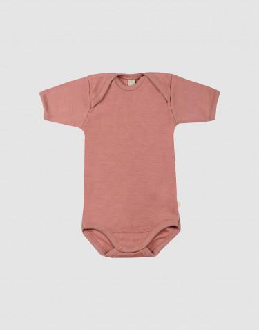 Ullbody med kort ärm för baby rosa
